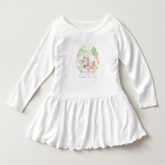 """Raccoon Tea Party"" Toddler Ruffle Dress"