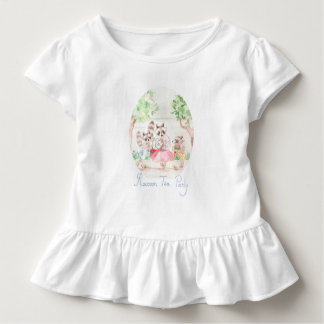 """Raccoon Tea Party"" Toddler Ruffle Tee"