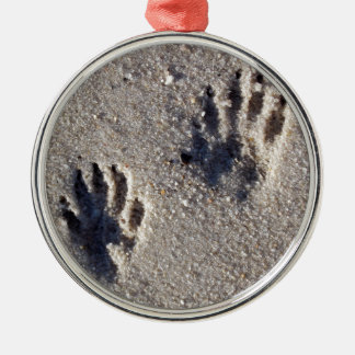 Raccoon Tracks in the Sand Metal Ornament