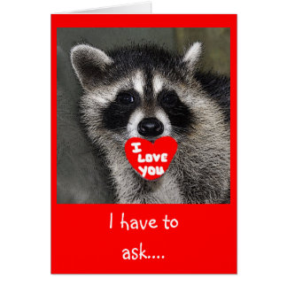 Raccoon Valentines Day Card