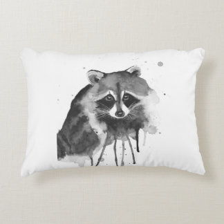 raccoon watercolor accent pillow