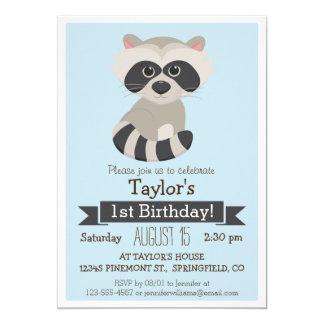 "Raccoon, Woodland Animal Kid's Birthday Party 5"" X 7"" Invitation Card"