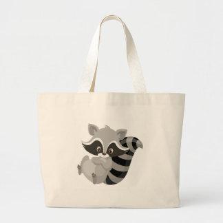 Raccoon woodland large tote bag