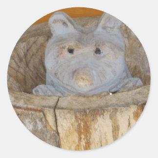 raccoon woodwork round sticker