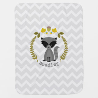Raccoon Wreath Gray Chevron Baby Blanket - Boy