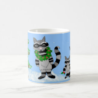 Raccoons Decked Out for the Holidays Classic White Coffee Mug