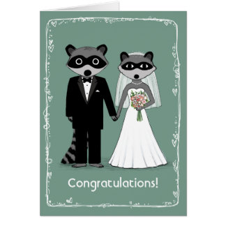 Raccoons Happily Ever After Congratulations Card