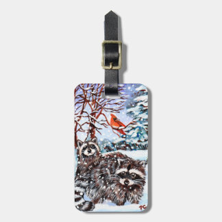 Raccoons in the Snow Luggage Tag