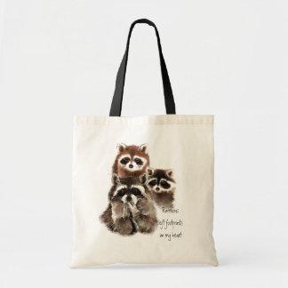 Raccoons left footprints on my heart Cute Animals Tote Bag