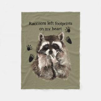 Raccoons left Footprints on my Heart Quote Fleece Blanket