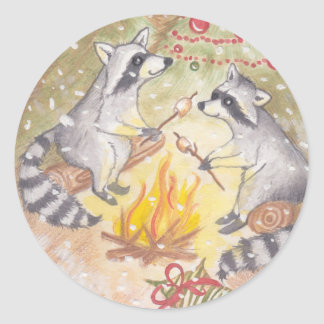Raccoons Roasting Marshmallows Holiday Stickers