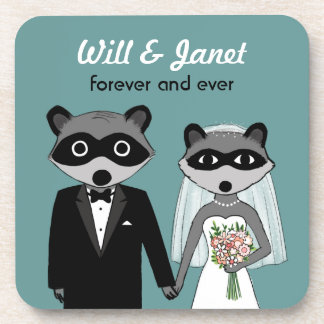 Raccoons Wedding Bride and Groom with Custom Text Coaster