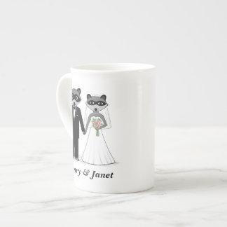 Raccoons Wedding Bride and Groom with Custom Text Tea Cup