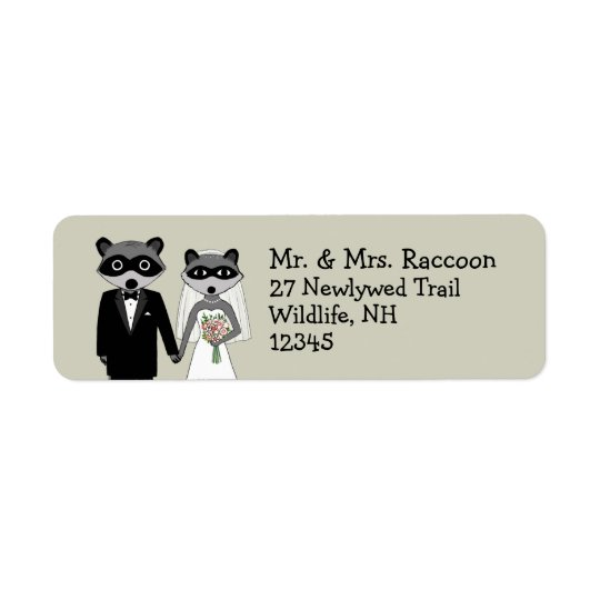 Raccoons Wedding Couple - Cute Bride and Groom Return Address Label