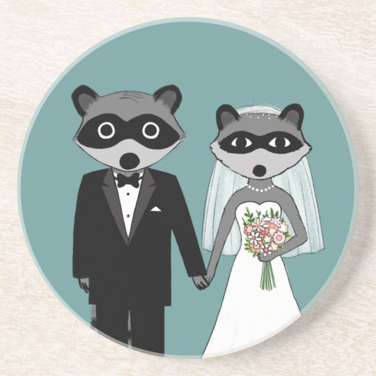 Raccoons Wedding - Cute Bride and Groom Coaster