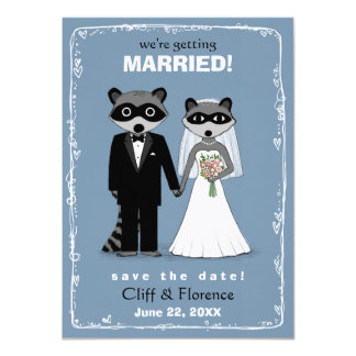 "Raccoons Wedding Save the Date 4.5"" X 6.25"" Invitation Card"