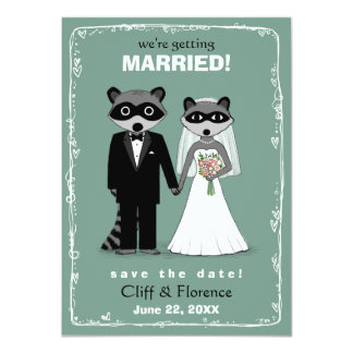 "Raccoons Wedding Save the Date Teal 4.5"" X 6.25"" Invitation Card"
