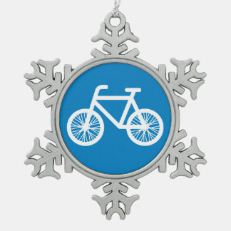 Race a bicycle snowflake pewter christmas ornament