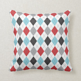 Race Blue Red Argyle Two Pattern Reversible Throw Pillow