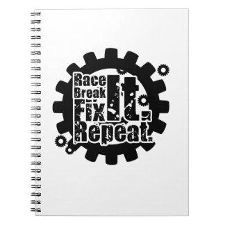 Race Break It Fix It Repeat Funny Racing Mechanic Notebook
