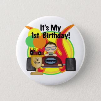 Race Car 1st Birthday Tshirts and Gifts 2 Inch Round Button