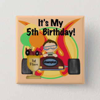 Race Car 5th Birthday T-shirts and Gifts 2 Inch Square Button