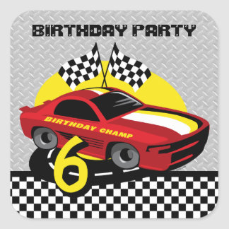Race Car 6th Birthday Sticker