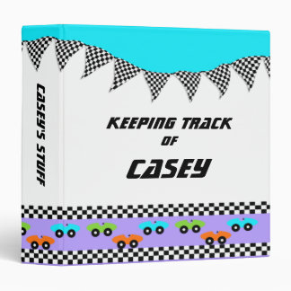 Race Car and Checker Flags 3 Ring Binder