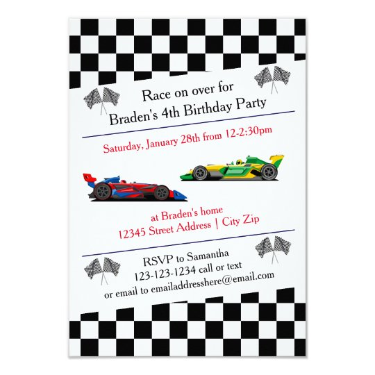 Race Car Birthday Party - 3x5 Invitation