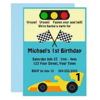 Race Car Birthday Party Card
