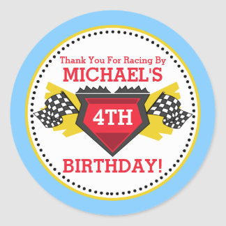 Race Car Birthday Party Favor Stickers
