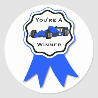Race Car Blue Ribbon Sticker