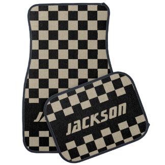 Race Car Checkered Flag Pattern   Black & Camel Car Mat