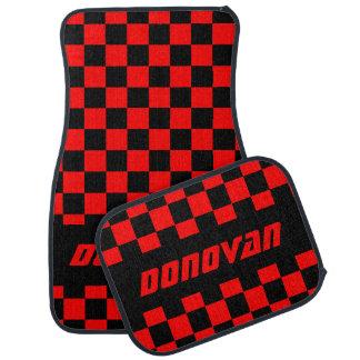 Race Car Checkered Flag Pattern   Black & Red Car Mat