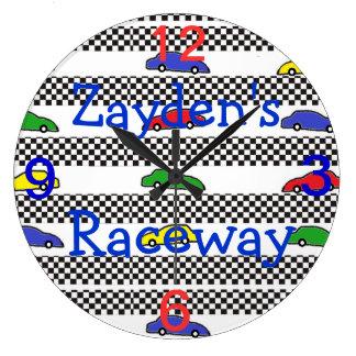 race car clock-edit name