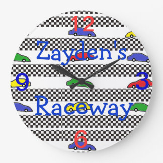 race car clock-edit name large clock