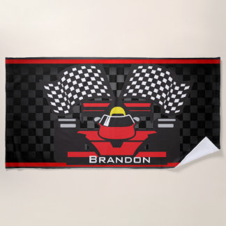 Race Car Design Beach Towel