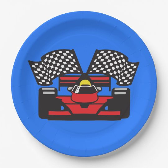 Race Car Design Paper Party Plate 9 Inch Paper Plate
