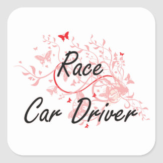 Race Car Driver Artistic Job Design with Butterfli Square Sticker