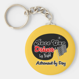 Race Car Driver by Night Astronaut by Day Basic Round Button Keychain