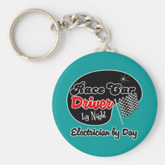 Race Car Driver by Night Electrician by Day Basic Round Button Keychain