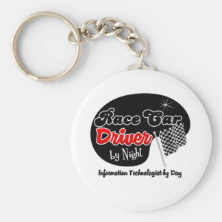 Race Car Driver by Night Information Technologist Basic Round Button Keychain