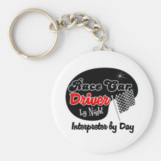 Race Car Driver by Night Interpreter by Day Basic Round Button Keychain