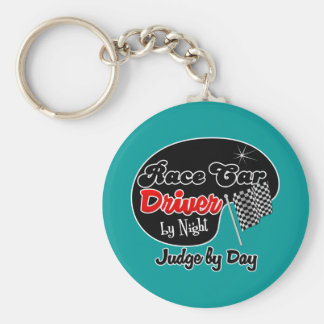 Race Car Driver by Night Judge by Day Basic Round Button Keychain