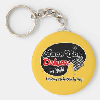 Race Car Driver by Night Lighting Technician by Da Basic Round Button Keychain