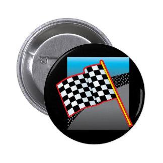 Race Car Flag 2 Inch Round Button