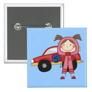 Race Car - Girl T-shirts and Gifts Pinback Button