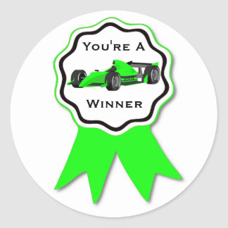 Race Car Green Ribbon Sticker