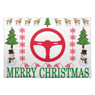 RACE CAR MERRY CHRISTMAS . PLACEMAT