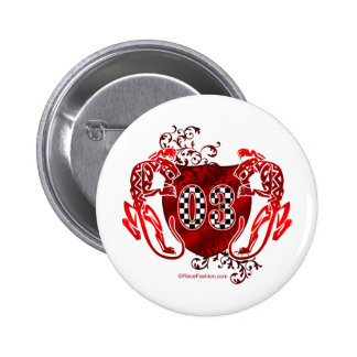 race car number 03 racing flag 2 inch round button